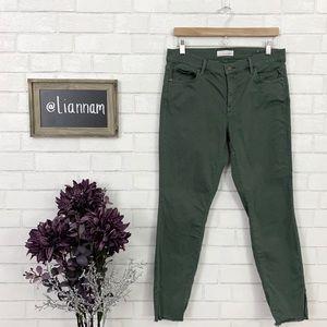 LOFT Modern Olive Slit Frayed Skinny Jeans